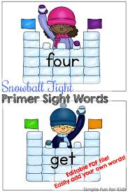 Help Your Elementary Student Or Kindergartener Learn Sight Words With These Snowball Fight Primer