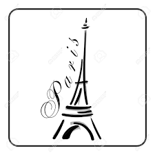 Eiffel Tower In A Simple Sketch Style Big Famous Symbol Of Paris France