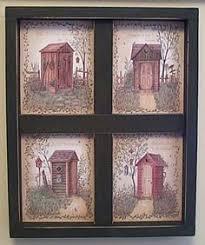 rustic outhouse bathroom decor space saver toilet shelf storage