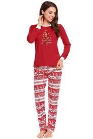 Zexxxy Women Christmas Suit Blouse Stripe Print Pants Pajama At
