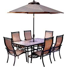 Hanover 7-Piece Outdoor Dining Set With Rectangular Tile-Top Table And  Contoured Sling Stationary Chairs, Umbrella And Base Hampton Bay Statesville 5piece Padded Sling Patio Ding Set With 53 In Glass Top Garden Fniture Wikipedia 6 Seater Outdoor Fniture Table And Chairs Cushion Sets Mandaue Foam Great Round Remodel Torino 7 Piece A Guide To Chair Height Branch Outdoor Table Metal From Trib 4 Bistro Steel Heart Cream Devoko 9 Pieces Space Saving Rattan Cushioned Seating Back Sectional