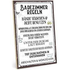 typestoff holzschild mit spruch badezimmer regeln im vintage look mit zitat als geschenk und dekoration größe 19 5 x 28 2 cm
