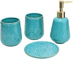 badezimmer zubehör set türkis keramik in relief seifenspender zahnputzbecher seifenschale badezimmer set