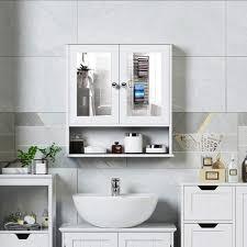 spiegelschrank badezimmer badschrank mit spiegel ängeschrank badmöbel badezimmerspiegelschrank 56x58x13cm weiß