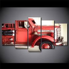100 Fire Truck Wall Art 5 Panels Truck Red Vehicle Fire Engine Car Men Canvas