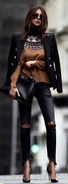 3 Cocktail Fashion For Fall Season With Black Distressed Jeans Leather Pointed Stilettos Source