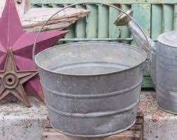 Galvanized Bucket Old Metal Pail Rustic Garden Planter Flower Pot Farmhouse
