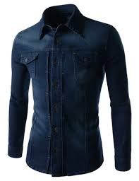 Modern Day Men Who Like Retro Style Slim Chest Two Pocket Vintage Washing Denim Long Sleeve Stretch Shirts