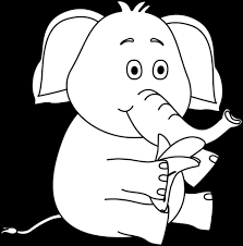 Black and White Elephant Eating a Banana