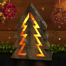 Bright Zeal Wooden Christmas Tree With LED Lights 145quot Tall Shape