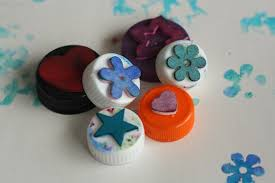 Homemade Stamps With Bottle Tops And Craft Foam Shapes
