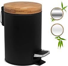 kazai 3l design kosmetikeimer bambus holzdeckel mit absenkautomatik treteimer mit anti fingerabdruck und komfort pedale schwarz