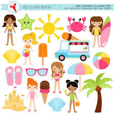 Girls Beach Clipart Set Sandcastle Summer Ice Cream