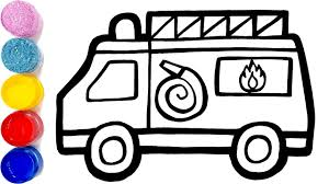 Glitter Toy Fire Truck Coloring Pages Learn Colors For Kids | Jolly ...