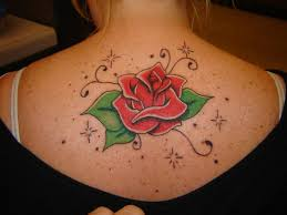 Glorious Rose And Twinking Star Tattoos On Upperback In 2017 Real Photo Pictures Images Sketches Tattoo Collections