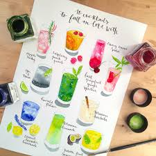Raspberry peach punch – watercolor food illustration
