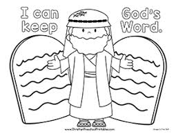 I Can Obey Gods Word Coloring Page This Is A Simple Bible Of Moses And The Ten Commandments