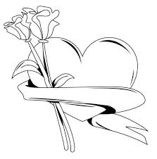 Full Image For Heart Coloring Pictures Valentines Day Valentine Roses And Hearts Pages