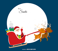 Flat Christmas illustration featuring Santa flying over the moon