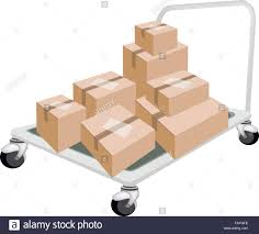 A Hand Truck Or Dolly Loading Stack Of Sealed Cardboard Boxes Stock ...