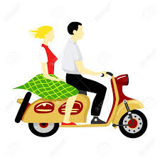 Boy And Girl Riding A Scooter Stock Vector