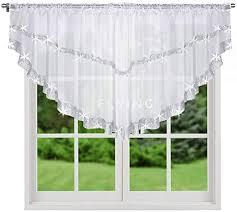 fkl top fertig gardine aus voile mit satinband weiß modern schöne küche gardine 300 cm x 85 cm gardienen mit kräuselband und zirkonia lb 271 85 x 300