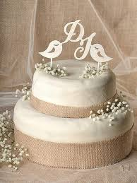 Rustic Cake Topper Wood Monogram Lovebirds Wedding