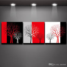 Red Black White Three Colors Tree Picture Oil Painting Prints On Canvas Mural Art Home Living Office Wall Decor 3 Panel