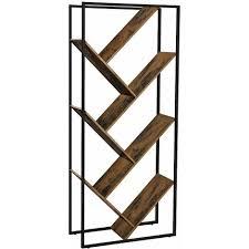 bücherregal wohnzimmerregal in baumform asymmetrisches standregal im industrie design leiterregal raumtrenner schräg einfacher aufbau 178 5 cm