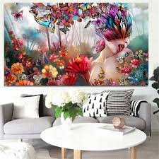 100 Sexy Living Rooms Print Abstract Butterfly Psychedelic Nude Woman Landscape Oil Painting On Canvas Art Modern Wall Picture For Room