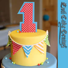 Landons First Birthday Cake Edible Fondant Banners Made With The