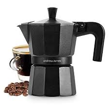 Andrew James Moka Pot Stove Top Coffee Maker 3 Cup Percolator With Cool Touch Handle