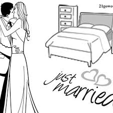 Printable Wedding Coloring Book Template Free Romantic Newly Married Couple Kissing In Bedroom