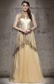 USD 128 21 Red Brasso Net Designer Gown