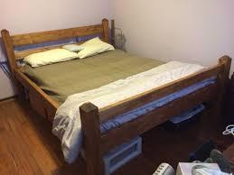 Make Queen Platform Bed Frame by Diy Queen Size Platform Bed Frame From 2x6 2x4 Pine And 4x4 Fir