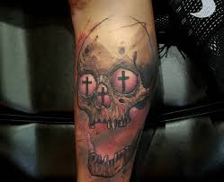 Watercolor Cross Skull Tattoo