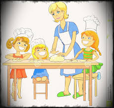 Mother And Baby Clipart Cooking Pencil In Color Baking Kid Kitchen China Cps