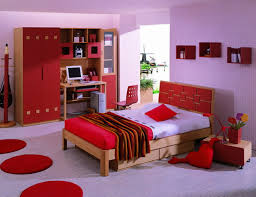 Unique Girls Red Bedroom Ideas With Built In Cabinet And Office Computer Desk Also