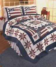AMERICAN FLAG King QUILT SET RED WHITE BLUE PATRIOTIC STAR COMFORTER