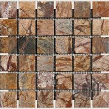 cafe forest brown tumbled marble in 2x2 mosaic tiles