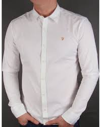farah larch slim fit shirt white smart oxford mens