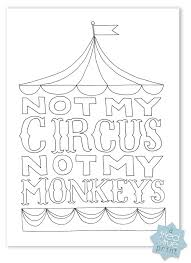 Not My Circus Monkeys Free Coloring Printable