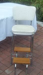 Cosco Retro Chair With Step Stool Black by Vintage Shabby Kitchen Step Stool Chair Wood Steps Fold Up Unusual
