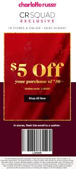 Charlotte Russe Coupons - $5 Off $30 Today At Charlotte ... 25 Off Lmb Promo Codes Top 2019 Coupons Promocodewatch Citrix Promo Code Charlotte Russe Online Coupon Russe Code June 2013 Printable Online For Charlotte Simple Dessert Ideas 5 Off 30 Today At Relibeauty 2015 Coupon Razer Codes December 2018 Naughty Coupons Him Fding A That Actually Works Best Latest And Discount Wilson Leather Holiday Gas Station Free Coffee Edreams Multi City