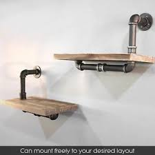 Image Is Loading Rustic Industrial Pipe Wall Shelf Vintage Floating Bookshelf