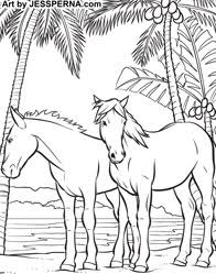 Horses On Beach Coloring Book Artist Drawing