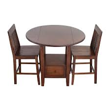 Crate And Barrel Basque Dining Room Set by 60 Off Round Dining Table With Folding Sides And Chairs Tables