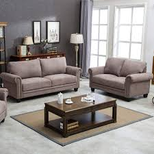 HarperBright Designs Fabric Living Room Sofa Set Collection Taupe With Curled Handrails And Nail Head Trim Upholstered Couch LoveseatSofa Brown