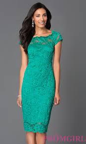 semi formal lace knee length dress promgirl