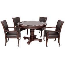 Hathaway Bridgeport 2 In 1 Poker Game Table Set Walnut Finish